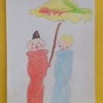foto onder moeders paraplu